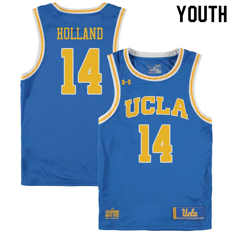 Youth #14 Brad Holland UCLA Bruins College Basketball Jerseys Sale-Blue